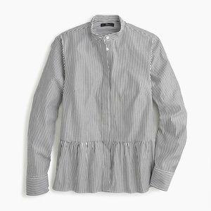 J. Crew Stripe stretch button-up shirt peplum sz 2